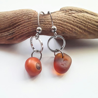 Asymmetrical Seaglass & Shell Earrings: Cinnamon