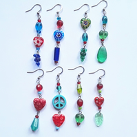 Asymmetrical Dangly Glass Bead & Heart Earrings: Multicoloured