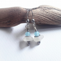 Seaglass Earrings: Baby Blue