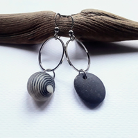 Asymmetrical Rare Shell & Black Pebble Earrings