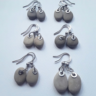 Small Beach Pebble Earrings