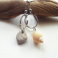 Asymmetrical Whelk Shell & Stripey Pebble Earrings