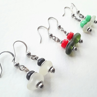Sweet Little Seaglass Earrings with Coloured Glass Beads