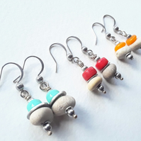 Sweet Little Beach Pebble Earrings with Coloured Glass Bead