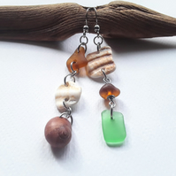 Asymmetrical Seaglass & Shell Dangle Earrings