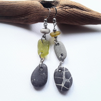 Beach Boho Pebble & Seaglass Dangle Earrings: Black & Golden Yellow
