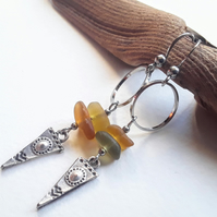 Yellow Seaglass & Tibetan Silver Dangle Earrings