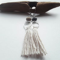 Beach Pebble Dangle Earrings with Pebbles & Hemp