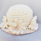 Little Miss cream Daisy sun hat. Age 0-3 mths