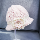 Little Miss pale pink and cream cotton floral sun hat. Age 3-6mths