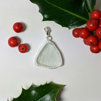 White sea glass charm or pendant with crochet details