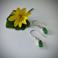 Silver earrings with green sea glass