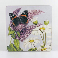 Butterfly on buddleia coaster
