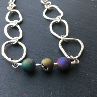 Handmade Sterling Silver and Rainbow Druzy Bead bracelet