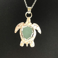 Sterling Silver Sea Glass Turtle