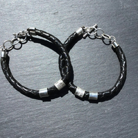 Hand made Sterling Silver and Leather TBar bracelet