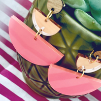 Charleston acrylic dangly studs, coral and rose gold, walnut wood, gold plate