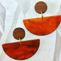Dancer dangly stud earrings, gold plated studs in tortoise shell and walnut wood