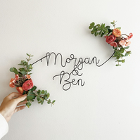 Couple's Names Floral Sign