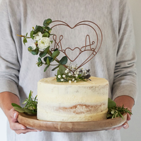 Eucalyptus and Rose Wire Cake Topper