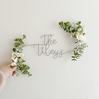 White and Greenery Name Floral Sign
