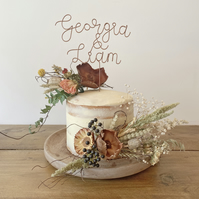 Autumnal Dried Flower Cake Decorations