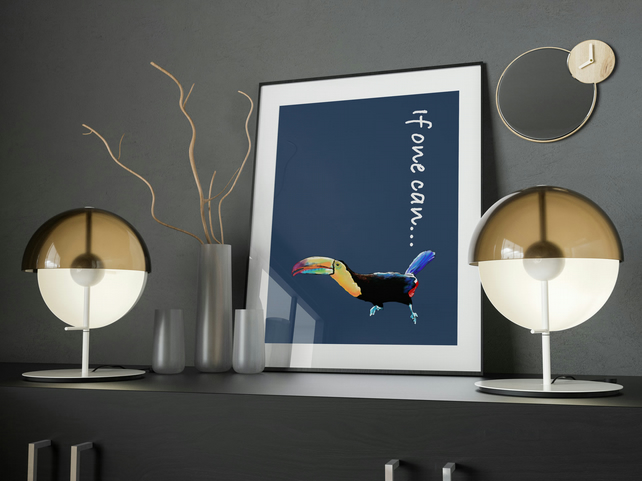 Toucan poster A3 . Tropical bird print . Colourful wall art poster . Wall decor
