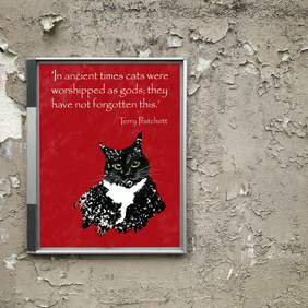 Cat poster A3 . Cat print . Colourful wall art poster . Terry Pratchett