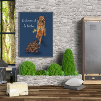 Hare and the tortoise poster A3 . Animal print . Wall decor . Aesop tales
