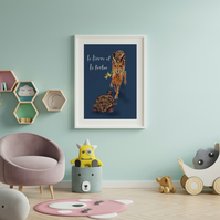 Hare and the tortoise digital download . Animal print . Wall decor . Aesop tales