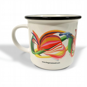 Abstract botanical pear white ceramic camping mug . Vintage-themed gift .