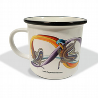 Abstract botanical butterfly white ceramic camping mug . Vintage-themed gift .
