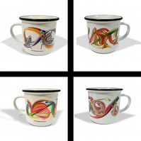 Abstract botanical white ceramic camping mug set . Vintage-themed gift .