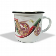 Abstract botanical mollusc white ceramic camping mug . Vintage-themed gift .