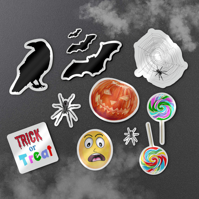 Halloween bumper glossy vinyl sticker pack . Spooky stickers . Cute Halloween