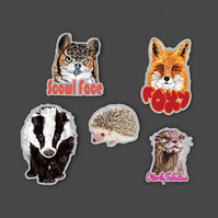 Woodland animal vinyl stickers . Fox, badger, owl, otter & hedgehog decals