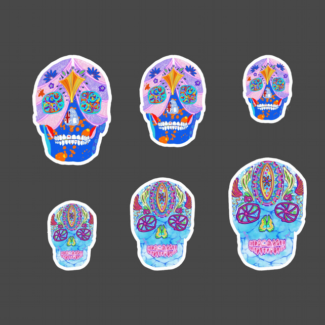 Day of the Dead sugar skulls vinyl stickers . Mexican art lover gift