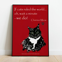 Cats 'Rule' poster . Funny cat print . International & US sizes available.