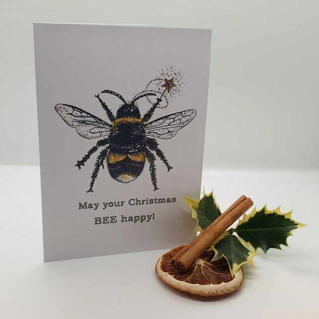 Fairy bee Christmas greetings card . Personalised bee Xmas card . Love bees