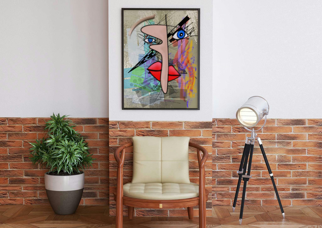 Abstract face giclée print . Abstract lover gift . Contemporary wall art