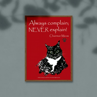 Cats 'Never Explain' digital download . Funny cat poster . Colourful wall art