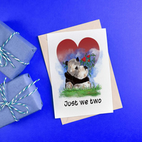 Panda love greetings card . Wedding card .  Anniversary card