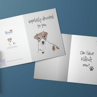 Cute Jack Russell dog card . Personalised card . Mother's Day card