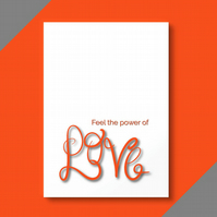 Orange 'love' calligraphy greetings card . Typography card .  Open card