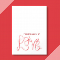 Red 'love' calligraphy greetings card . Typography card .  Open card