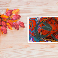 Orange abstract greetings card . Open card .  Psychedelic card . Notelet