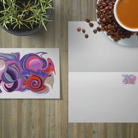 Pink abstract greetings card . Open card . Psychedelic card