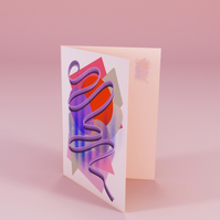 Red abstract greetings card . Open card . Psychedelic card