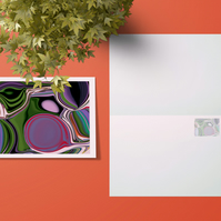 Purple abstract greetings card . Open card . Psychedelic card