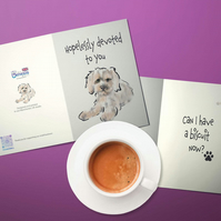 Cute Cockapoo dog card . Personalised card . Mother's Day card